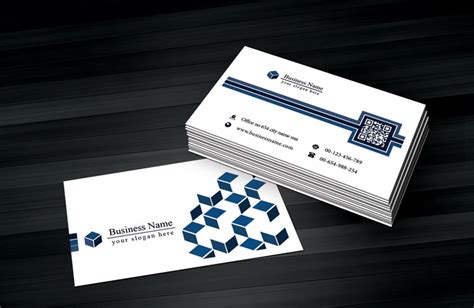 business card qr code template white blue business card template with qr code free