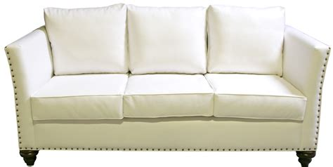 nailhead sofa white leather designer8