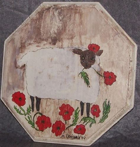 folk acrylic paint on wood curly with poppies by nancy denommee from folk