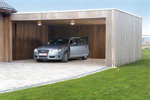 een moderne carport in hout livinlodge