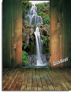door wall murals chestnut trail waterfall 1 piece peel amp stick wall door mural