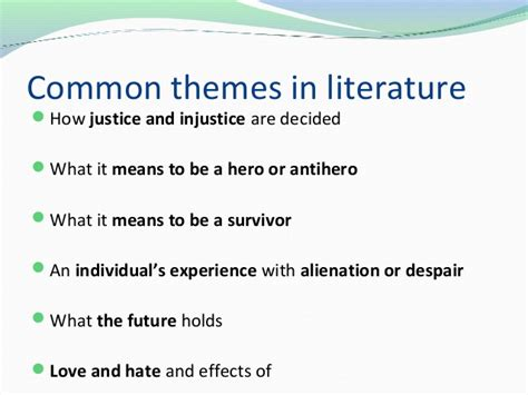 literature themes survival theme symbols and motifs