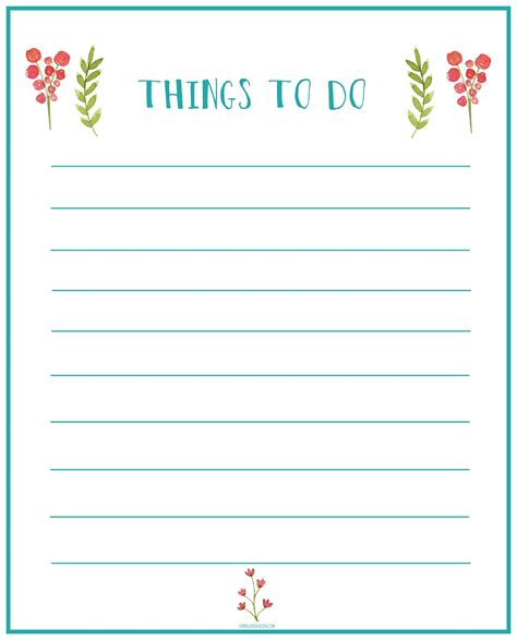 Things To Do Printable List