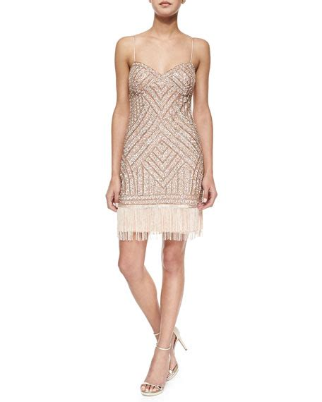 fringe beaded dress aidan mattox beaded cocktail dress w fringe hem neiman