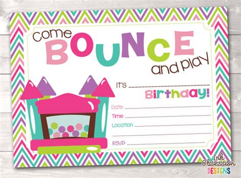 printable bounce house invitations bounce house instant download birthday party invitation