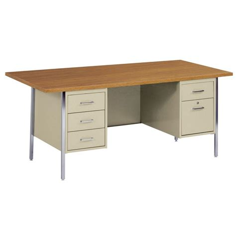 Desks Office Depot Sandusky 400 Series Pedestal Steel Desk In Putty Oak Dp7236 Pu The Home Depot
