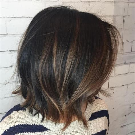 Black Bob With Brown Highlights | 1000 ideas about highlights black hair on pinterest red