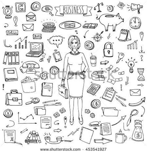 doodle vs drawing doodle business set vector stock vector