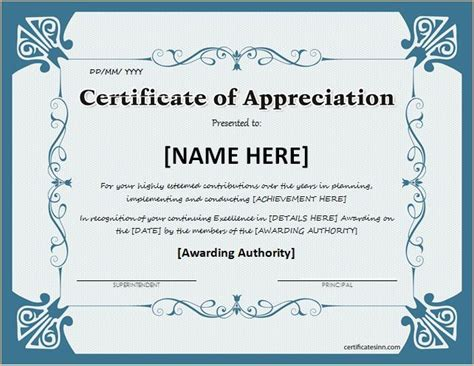 certificate of appreciation template word 25 unique free certificate templates ideas on