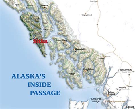 alaska inside us map alaska inside passage map