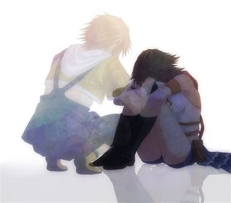 comfort in sadness sad tidus trying to comfort yuna ffx 2 anime and