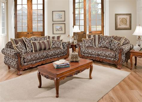 wood living room furniture textured fabric traditional living room w carved wood accents