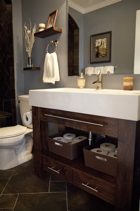 farmhouse sink vanity bathroom craftsman with basket