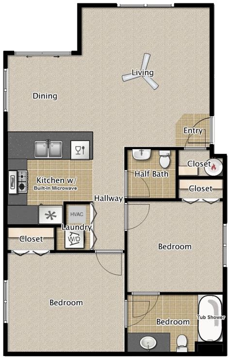 Design Floorplan 2 Bedroom 1 5 Bath Apartment Floor Plans Medford Oregon