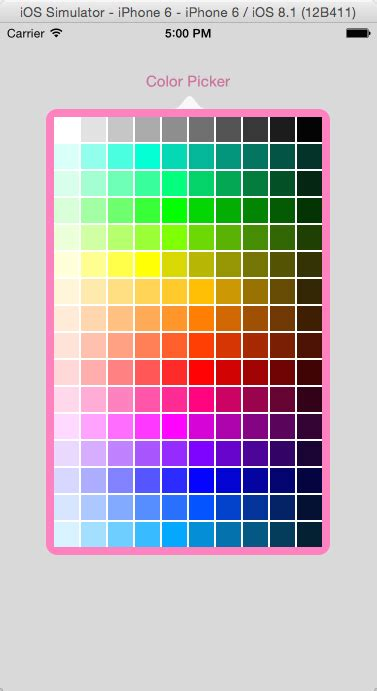 color palette picker simple color picker popover ios stack overflow