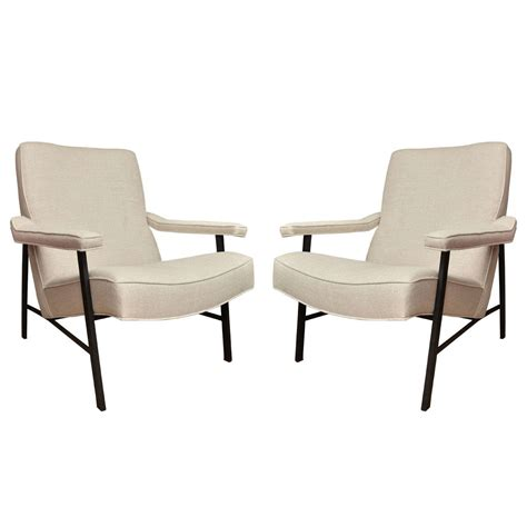 metal armchairs pair of metal frame linen upholstered arm chairs at 1stdibs