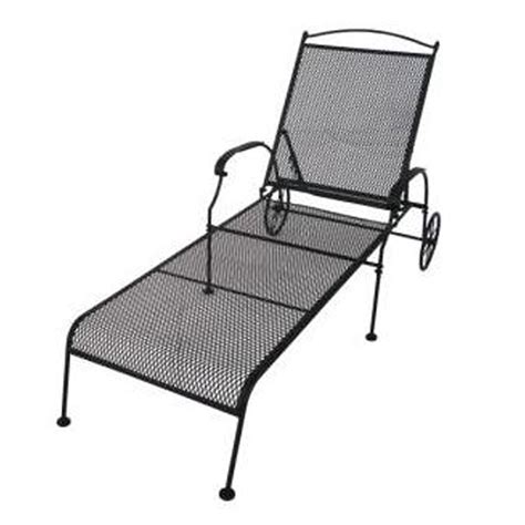 Wrought Iron Chaise Lounge Patio Furniture shop garden treasures hanover mesh seat wrought iron patio chaise lounge at lowes