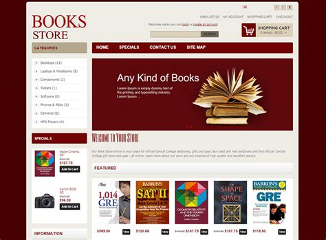 bookstore open cart website templates themes free