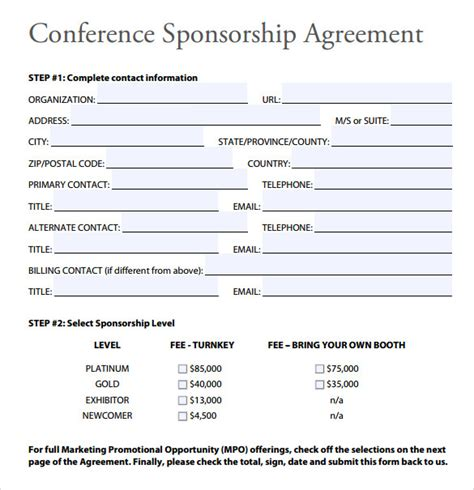 sponsorship agreement form template 28 images doc