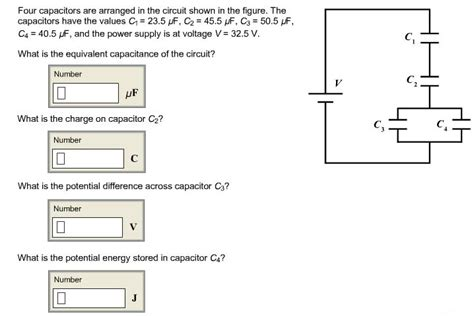 what is the potential difference across capacitor c3 in the left figure four capacitors are arranged in the circuit shown chegg