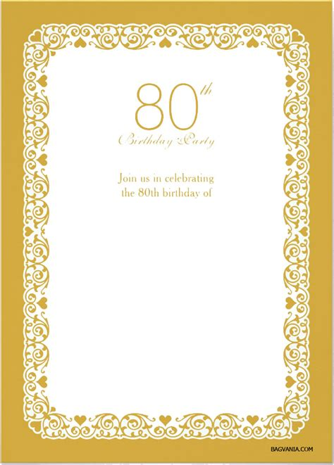 Free Printable 80th Birthday Invitations Bagvania Free Printable Invitation Template 80th Birthday Invitations Templates