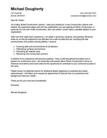 How To Write A Cover Letter For Construction by Best Construction Labor Cover Letter Exles Livecareer