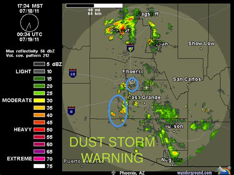 weather radar map arizona the weather centre july 18 az sandstorm on radar