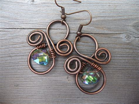 Handmade Wire Jewellery - wire wrapped jewelry handmade copper and green earrings