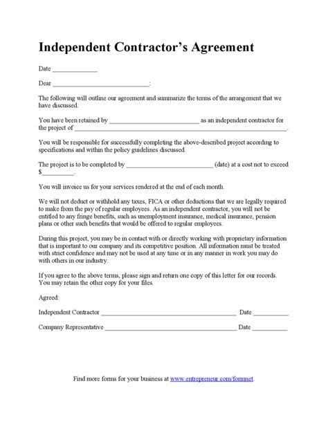 independent contractor contract template real estate independent contractor agreement template