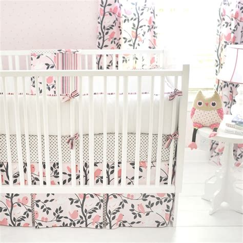 Bird Crib Bedding Whimsy Flowers In Bloom Rug Pink Crib Bedding And The Birds