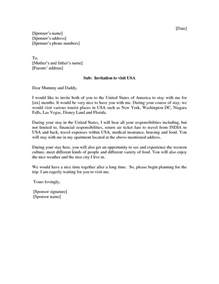 how to write invitation letter for us tourist visa sle invitation letter for visa for parents invitation