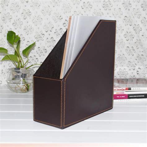 1 slot wood leather desk file book box magazine self