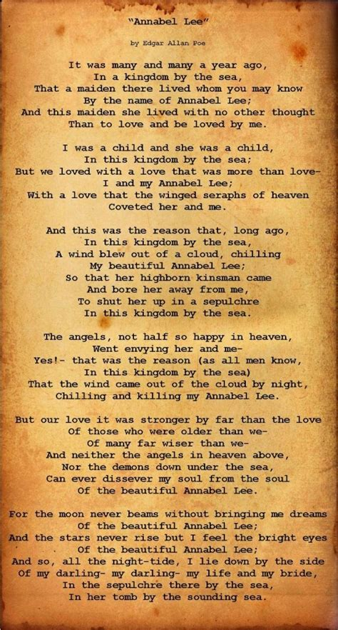 annabel lee by edgar allan poe annabel lee edgar allan poe live and learn pinterest