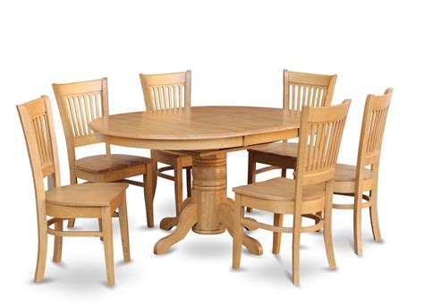7 pc oval dinette dining 7 pc dinette kitchen dining set oval table with 6 wood seat chairs in light oak sku avva7 oak w