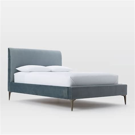 velvet upholstered bed andes deco upholstered bed steel blue luster velvet