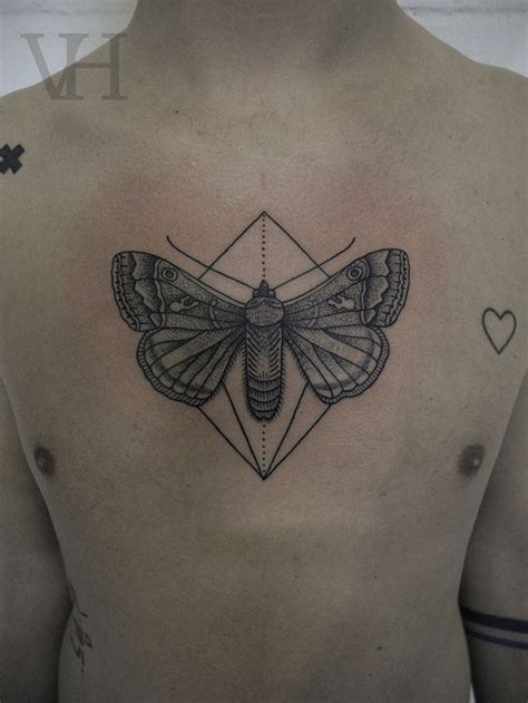 butterfly chest tattoo stippling style black chest of big butterfly with