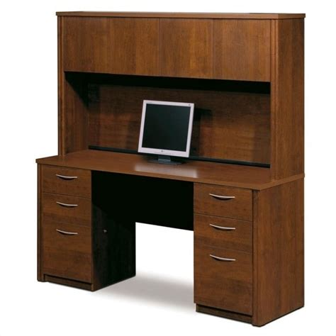 Desks With Hutch For Home Office Bestar Embassy Home Office Pedestal Wood Computer Desk With Hutch In Tuscany Brown 60851 63