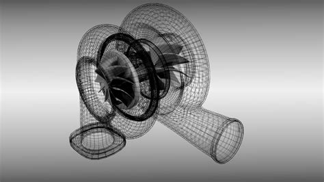 Blender Blended turbocharger 3d model obj blend cgtrader