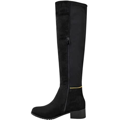knee high low heel boots womens knee high boots winter flat wide leg