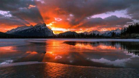 nature landscape mountain canada alberta snow winter