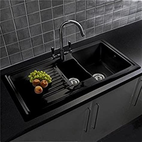 black kitchen sinks uk reginox rl401cb 1 5 bowl black ceramic kitchen sink with