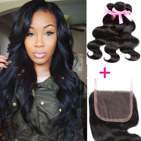 brazilian body wave weave styles peruvian body wave 4 4 1pc lace closure with 3 bundles