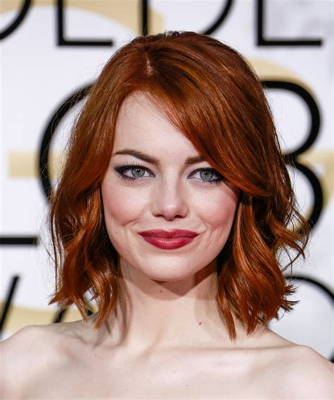 emma stone hairstyle 2015 celebrity hairstyles 2015 emma stone medium wavy casual hairstyle dark red ginger