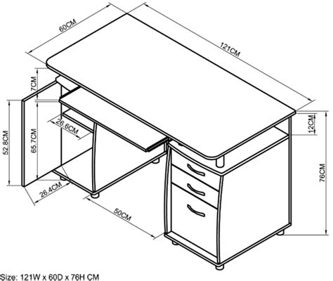 Office Desk Sizes Office Desk Size Standard Computer Desk Dimensions Top Square Length 121 Cm Wide 60 Cm Bottom