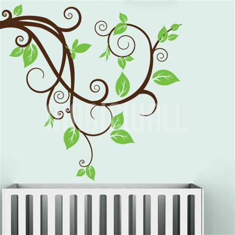 branches wall stickers wall decals swirly branch with leaves wall stickers