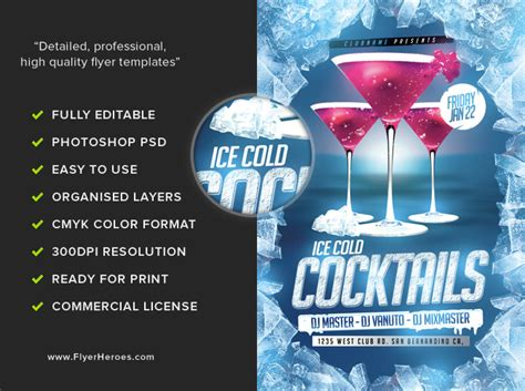 cocktail flyer cold cocktails flyer template flyerheroes