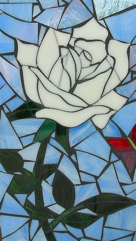 mosaic rose pattern white rose mosaic blank greetings card by lamosaicgifts on