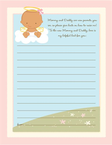 note from baby at baby shower in the cloud baby shower notes of advice