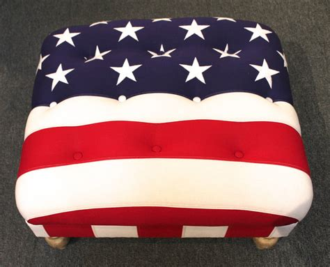 flag ottoman upholstered 48 star flag ottoman with painted turned feet