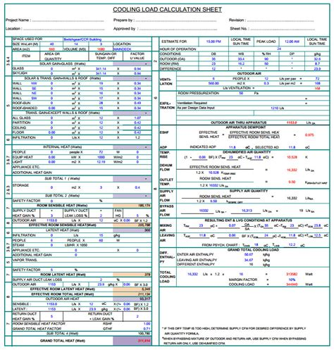 Heat Load Calculation Spreadsheet by Hvac Load Calculation Worksheet Wiildcreative